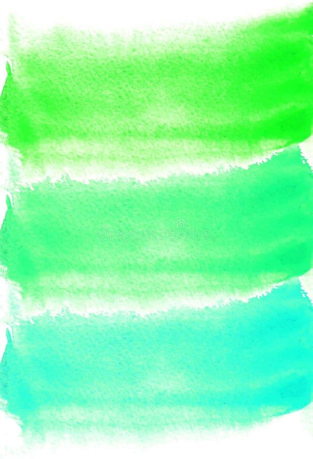 Kort med vattenfärgfläckar Gräsplan- och turkosfärger Måla för din design Abstrakt ljus texturerad bakgrund stock illustrationer