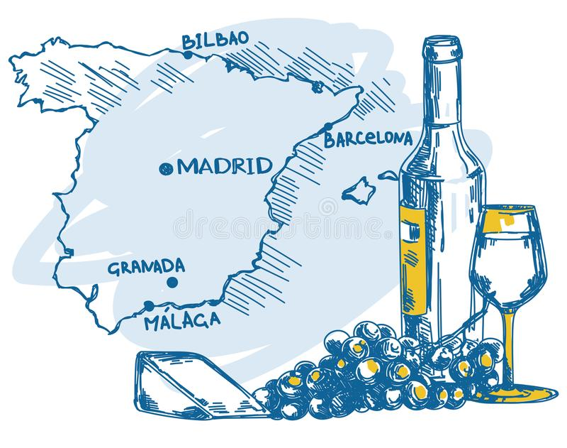 Kort med vinflaskan, exponeringsglas och ost och den Spanien översikten stock illustrationer
