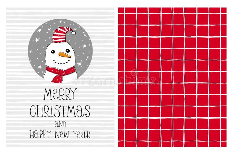 Kort och modell för vektor för utdragen glad jul för gullig hand och för lyckligt nytt år Rolig snögubbe i en Gray Circle vektor illustrationer
