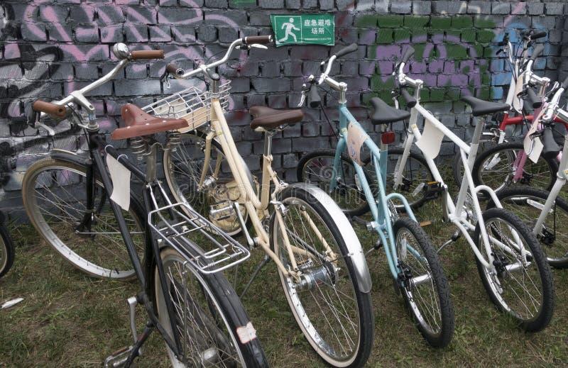 Kort och modell med cykeln royaltyfri foto