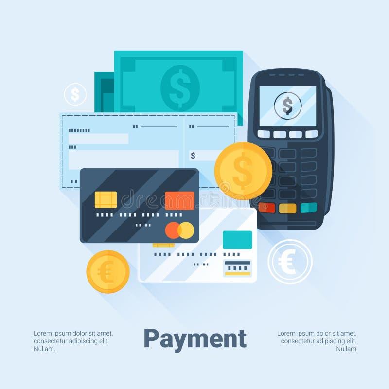 Kort, pengar, mynt och check Betalningmetodbegrepp Plan stil med långa skuggor Ren design royaltyfri illustrationer