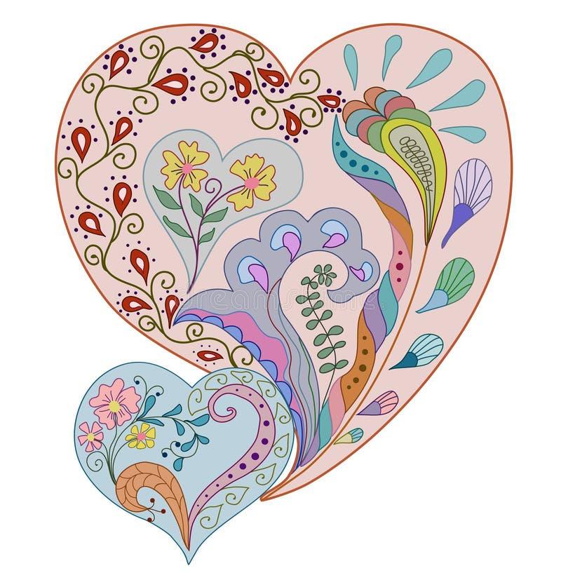 kort som greeting hjärtaform stock illustrationer