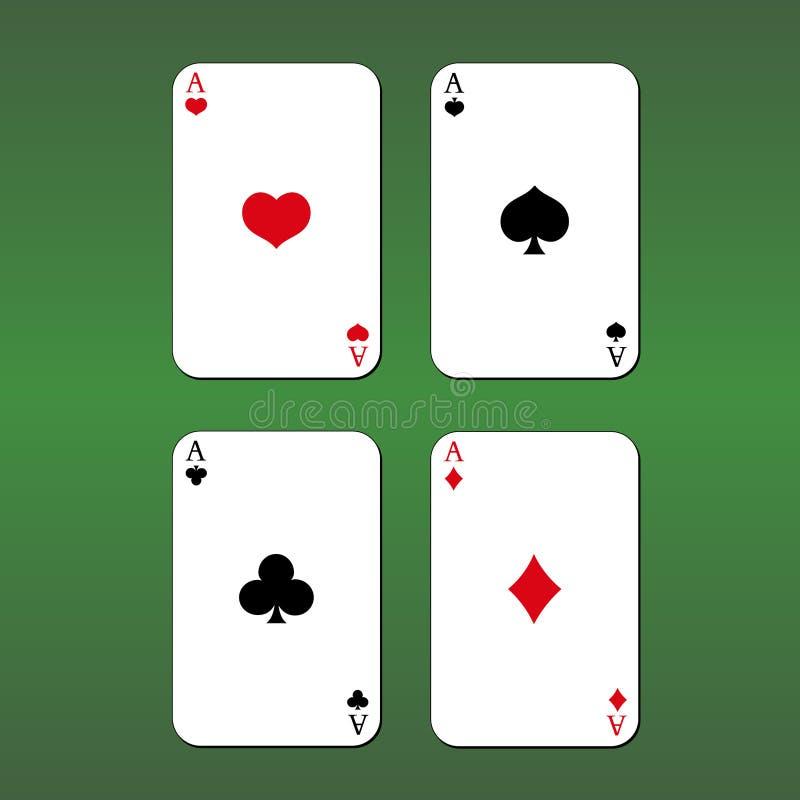 kort spolar leka pokerkunglig person göra ett ess på green för bakgrund fyra vektor illustrationer