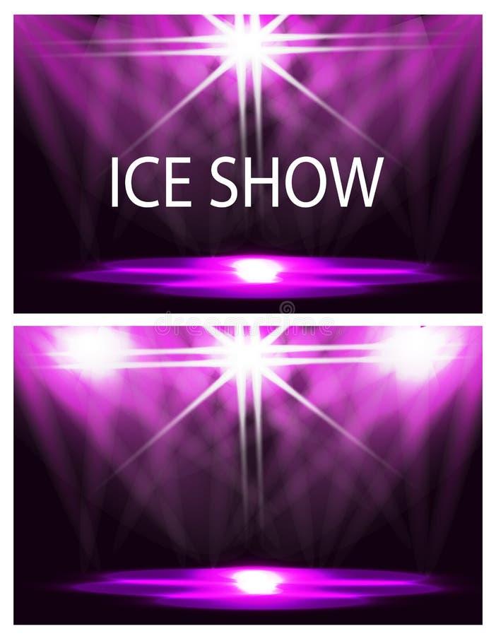 kort två Inskriften är en isshow Etappbelysning, podium, strålkastare Konfetti flyger Purpurfärgad bakgrund royaltyfri illustrationer