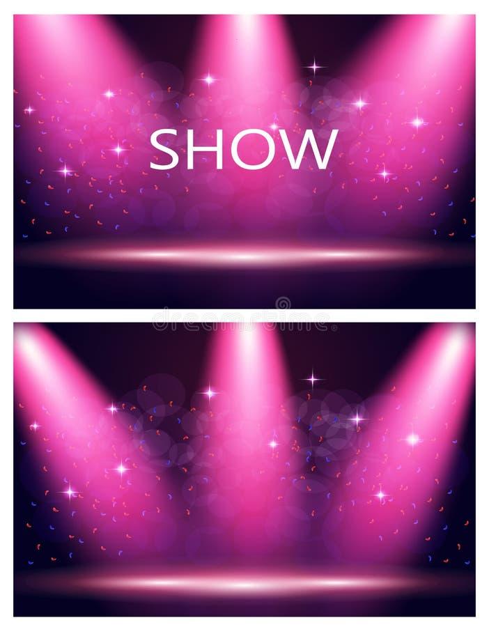 kort två Inskriftshow Belysning av etappen, podium, strålkastare Konfetti flyger Purpurfärgad bakgrund stock illustrationer