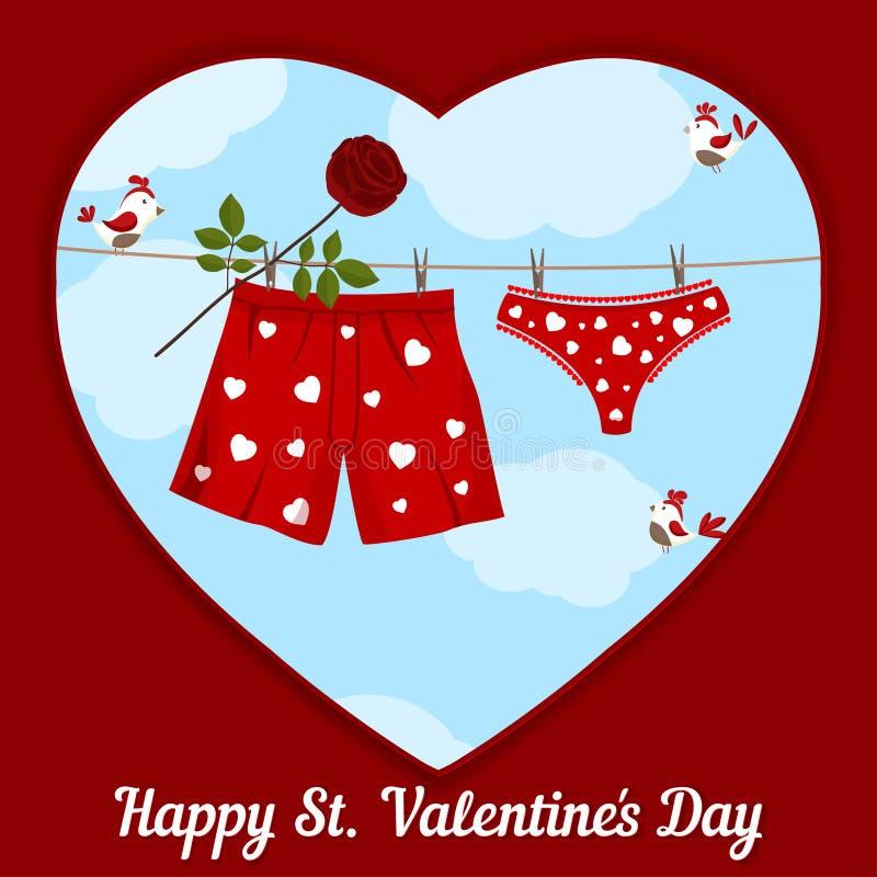 Kort vid St.-valentin dag. royaltyfri illustrationer
