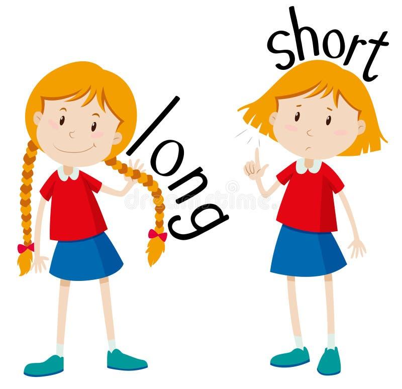 Korta motsatta adjektiv som är långa och stock illustrationer