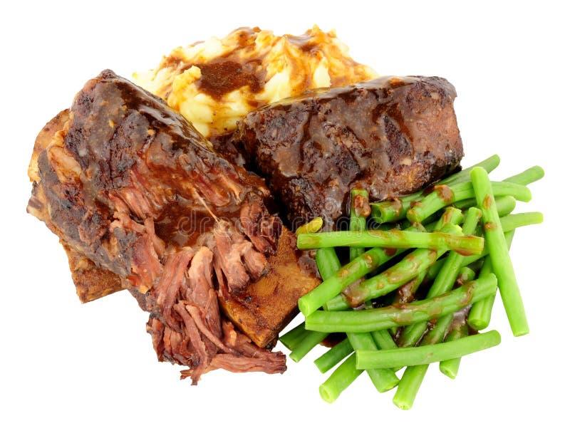 Korta stöd för nötkött och mosat potatismål royaltyfri foto