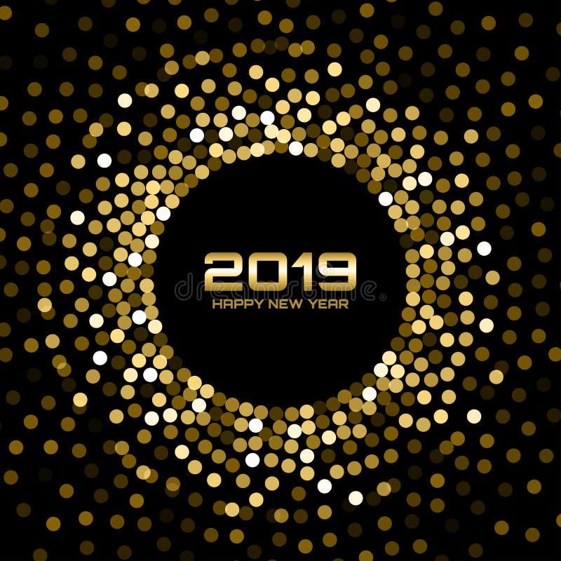 Kortbakgrund för nytt år 2019 Guld blänker papperskonfettier Glittra guld- diskoljus Glödjul vektor stock illustrationer