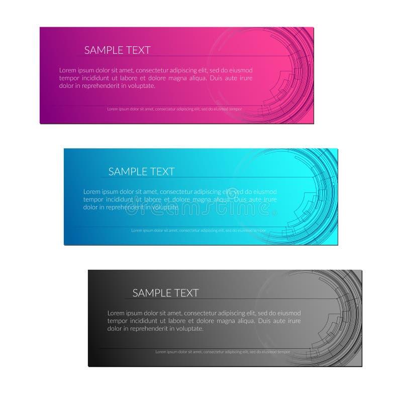 Kortbakgrund med abstrakta radiella cirkellinjer Techlinjer på en purpurfärgad blå grå för teknologikort för bakgrund idérik desi stock illustrationer
