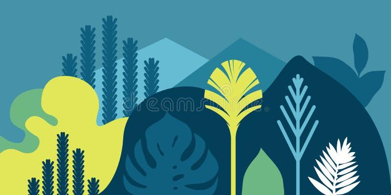 Kortbanerinbjudan med tropiskt landskap planterar trädkullar och berg Bevarande av miljön, ekologi royaltyfri illustrationer