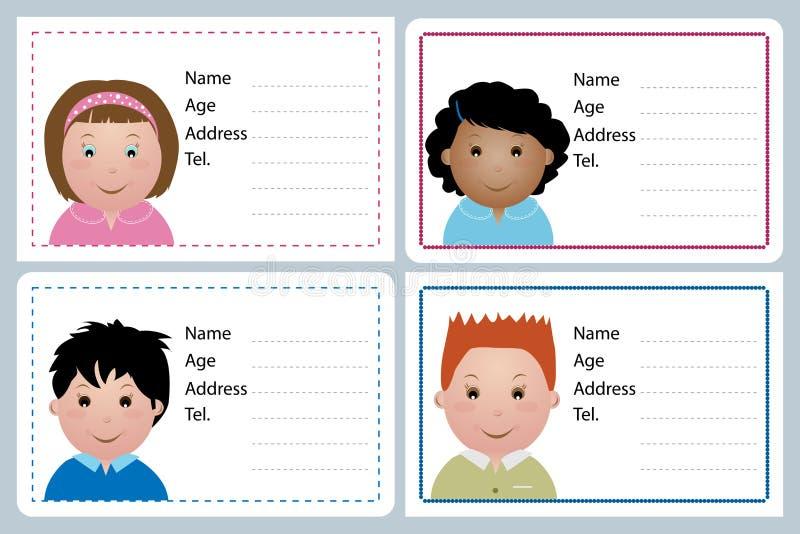 kortbarnnamn vektor illustrationer