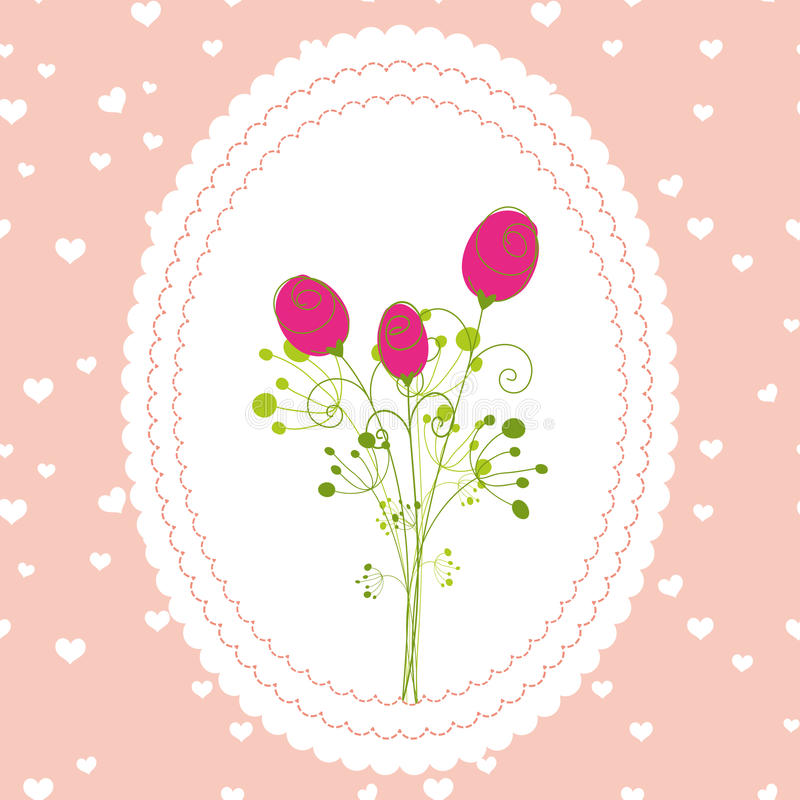 kortblommor som greeting rose springtime royaltyfri illustrationer