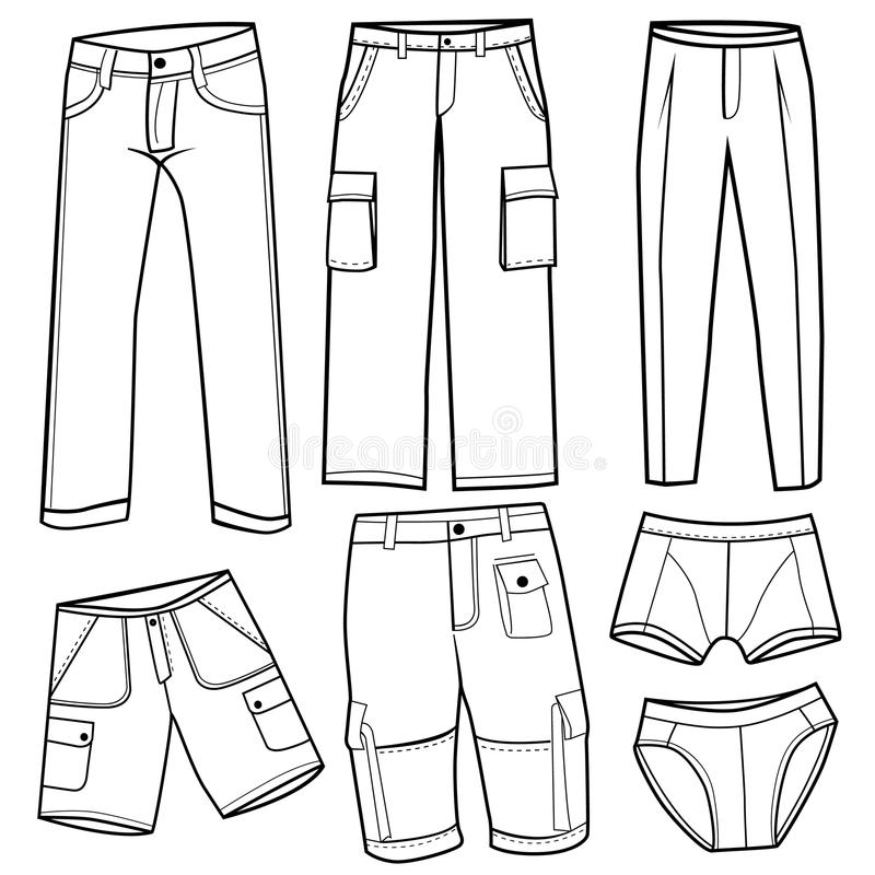 kortbyxor för män s vektor illustrationer