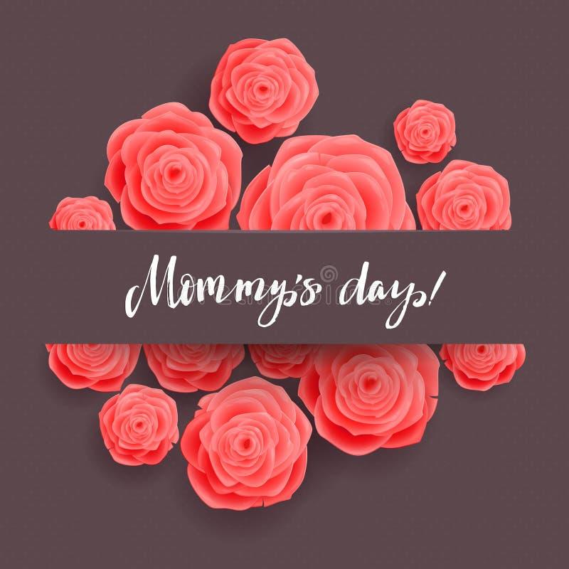 kortdag som greeting lycklig moder s övre för täta blommor för skönhet naturligt rosa rose royaltyfri illustrationer