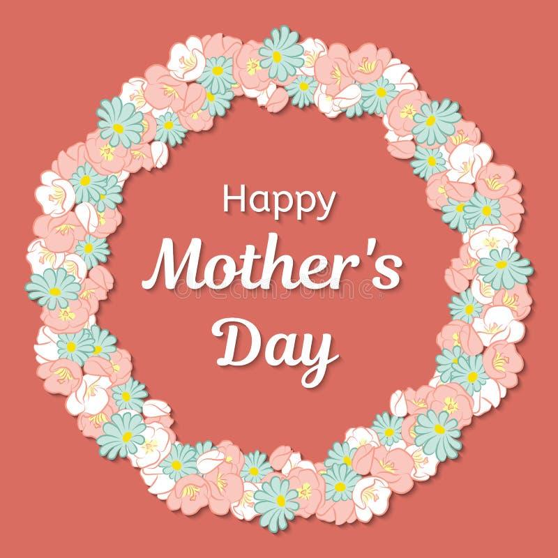kortdag som greeting lyckliga mödrar Rund ram eller en krans av blommor och en lyckönsknings- inskrift också vektor för coreldraw royaltyfri illustrationer