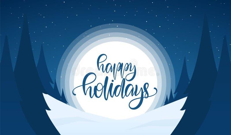 kortdaghälsningen irises vektorn för moder s Snöig julbakgrund med handbokstäver av lyckligt semestrar, natthimmel och sörjer stock illustrationer