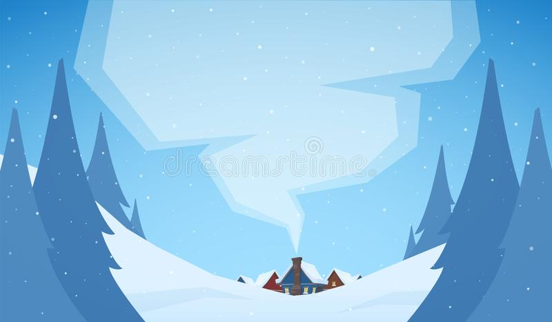 kortdaghälsningen irises vektorn för moder s Snöig julbakgrund med tecknad filmhus royaltyfri illustrationer