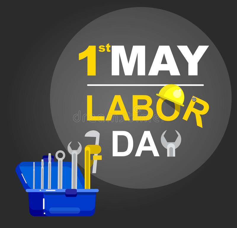 Kortdesign för arbets- dag, vektorillustration stock illustrationer