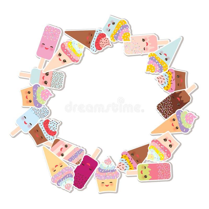 Kortdesign för din text rund ram, krans muffin med kräm, glass i dillandekottar, isglassen Kawaii med rosa färger är fräck mot stock illustrationer