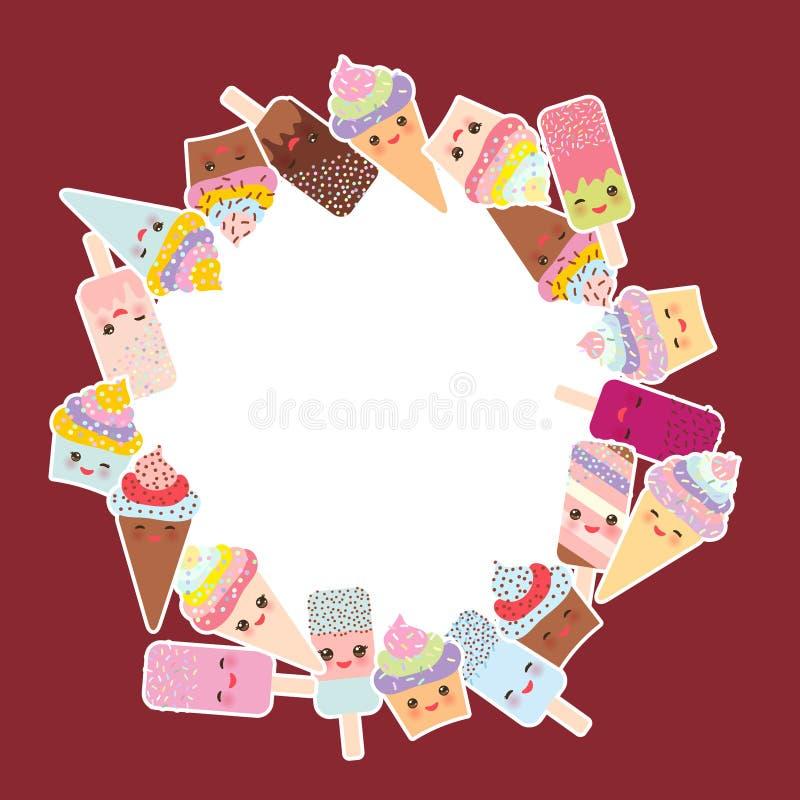 Kortdesign för din text rund ram, krans muffin med kräm, glass i dillandekottar, isglassen Kawaii med rosa färger är fräck mot royaltyfri illustrationer