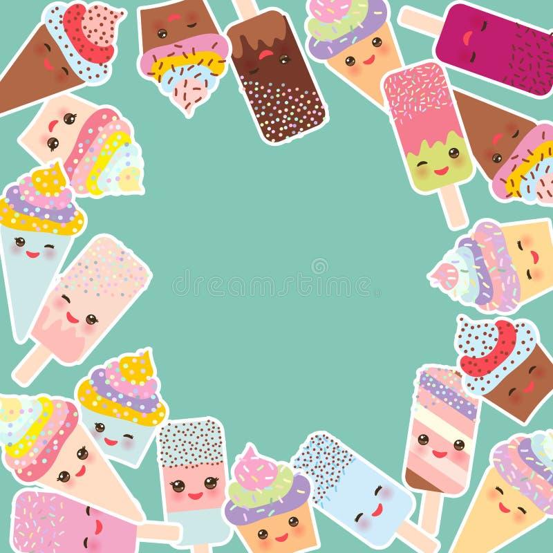 Kortdesign för din text rund ram, muffin med kräm, glass i dillandekottar, isglass Kawaii med rosa färgkinder och seger vektor illustrationer