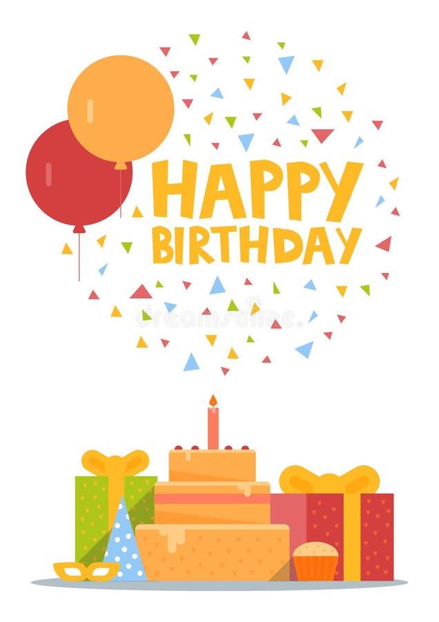 Kortdesign för lycklig födelsedag med den ballons-, konfetti-, kaka- och gåvaasken också vektor för coreldrawillustration royaltyfri illustrationer