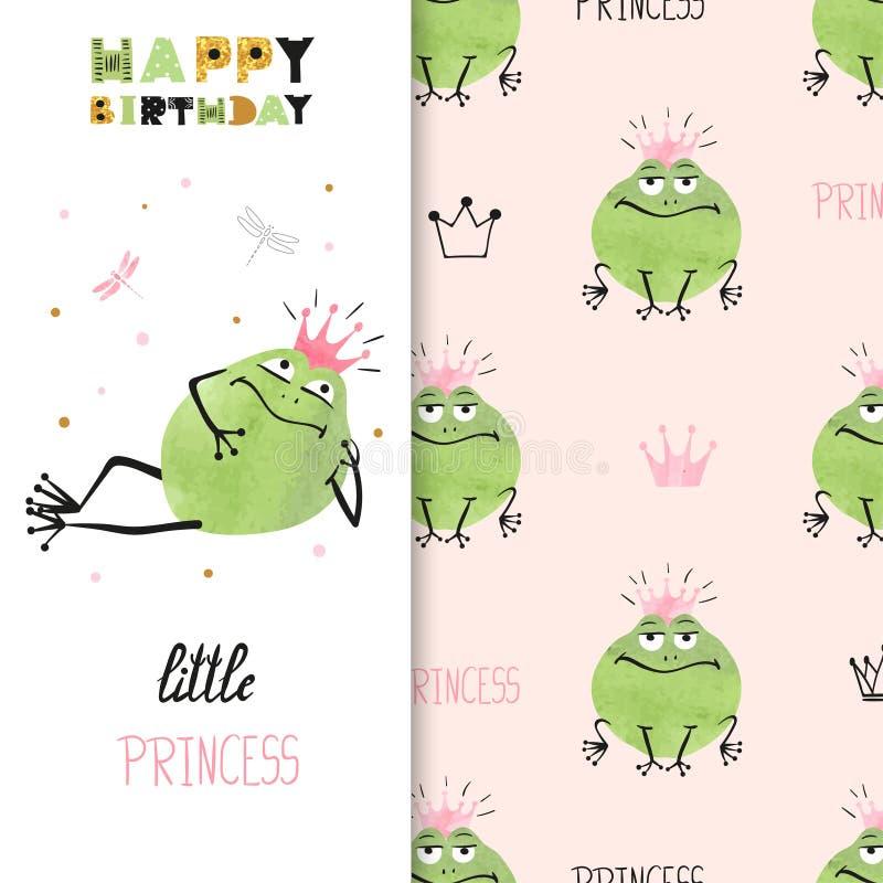 Kortdesign för lycklig födelsedag med den gulliga prinsessagrodan royaltyfri illustrationer