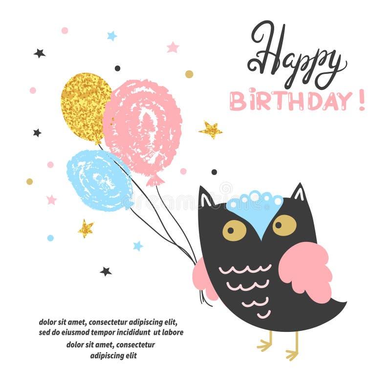 Kortdesign för lycklig födelsedag med den gulliga ugglan och ballonger stock illustrationer