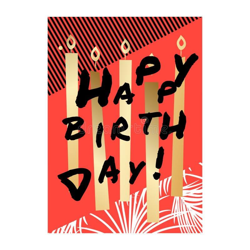 Kortdesign för lycklig födelsedag med guld- stearinljus stock illustrationer
