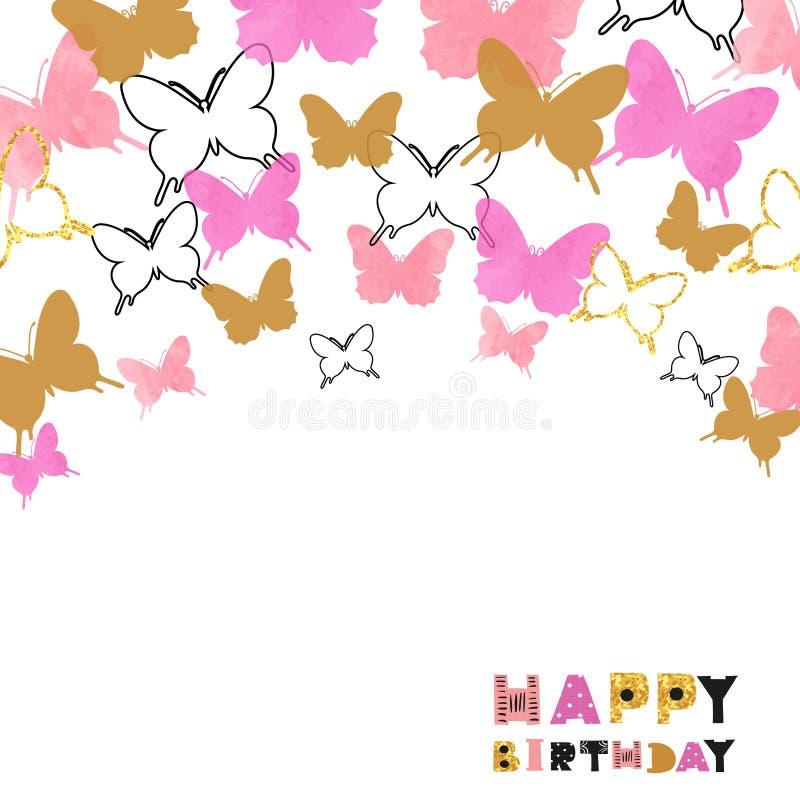 Kortdesign för lycklig födelsedag med rosa färger och att blänka för vattenfärg guld- fjärilar stock illustrationer