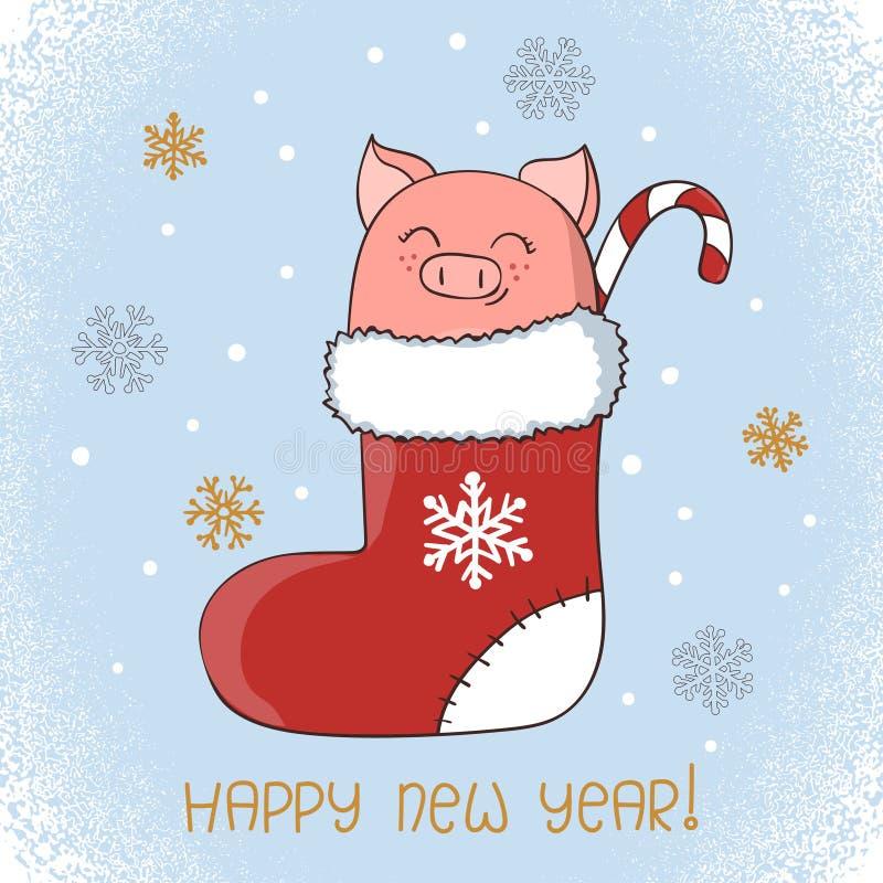 Kortdesign för lyckligt nytt år Gulligt litet svin i en julstrumpa stock illustrationer