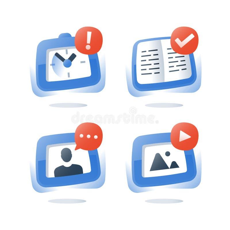 Korte cursus, online onderwijs, videohandboek van een privé-leraar, open, examenvoorbereiding, het verre leren, het onderwerp van vector illustratie