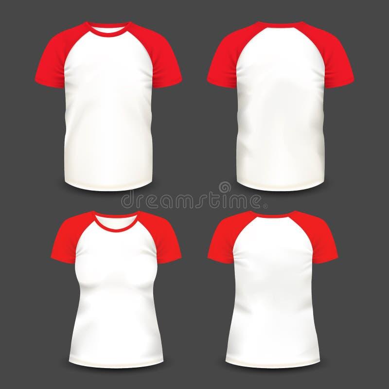 Korte raglan koker realistische volumetrische t-shirts vector illustratie