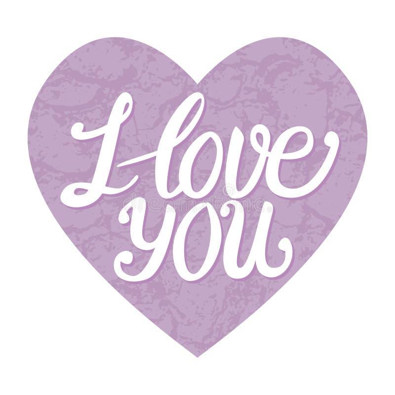 kortet älskar jag dig Kalligrafi för vektorinskriftbokstäver med trendfärglavendel texturerade hjärta stock illustrationer