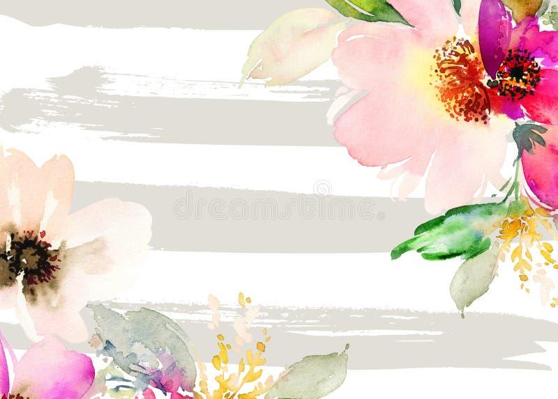 kortet blommar hälsning stock illustrationer