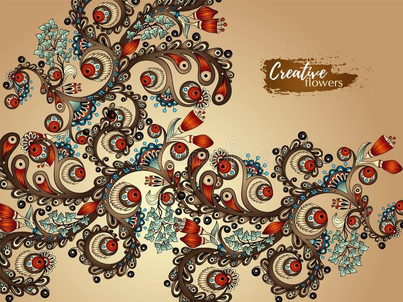 kortet blommar hälsning Handmålningkonstverk med vattenfärgfärgstänk Bakgrund för rengöringsduken, design för utskrivavet massmed royaltyfri illustrationer