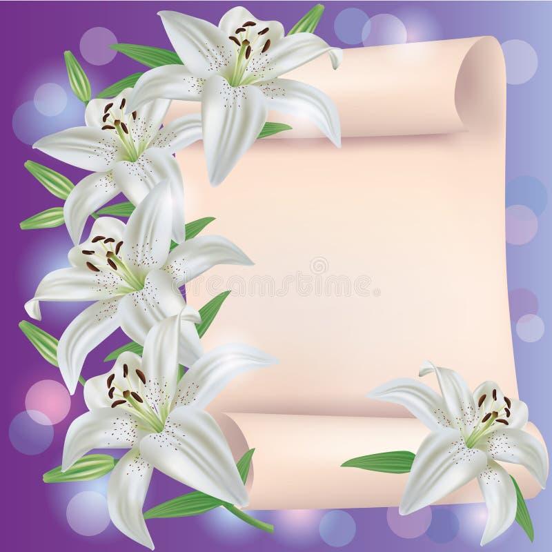 kortet blommar hälsningsinbjudanliljan stock illustrationer