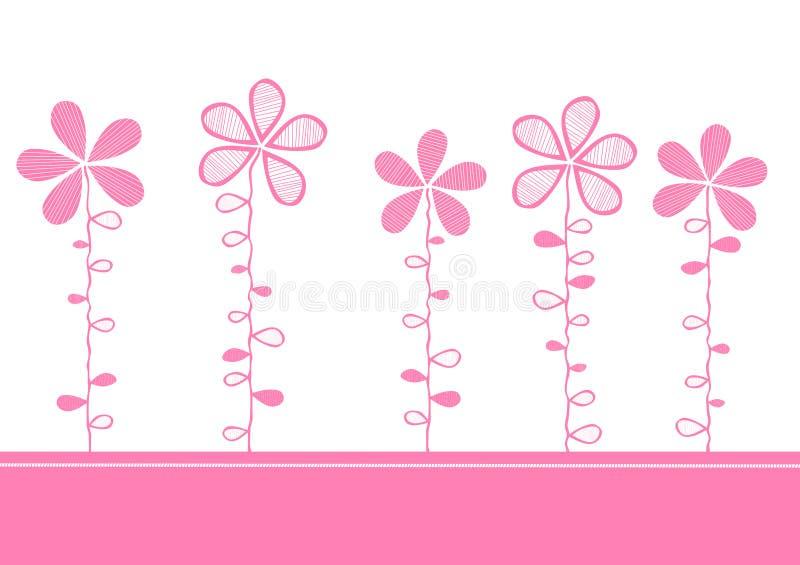 kortet blommar inbjudanpink stock illustrationer