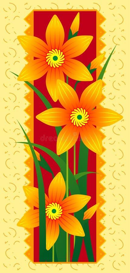 kortet blommar orangen royaltyfri illustrationer
