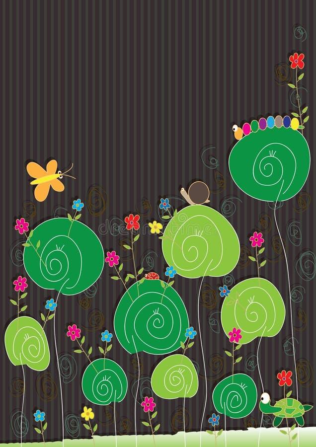 kortet eps blommar kryp royaltyfri illustrationer