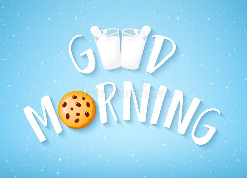 Kortet för den bra morgonen med text, kakan och två exponeringsglas av mjölkar på blå bakgrund vektor stock illustrationer