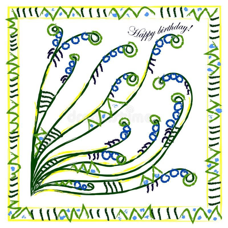 Kortet för den lyckliga födelsedagen, hälsningkort målade med mångfärgad bru royaltyfri illustrationer