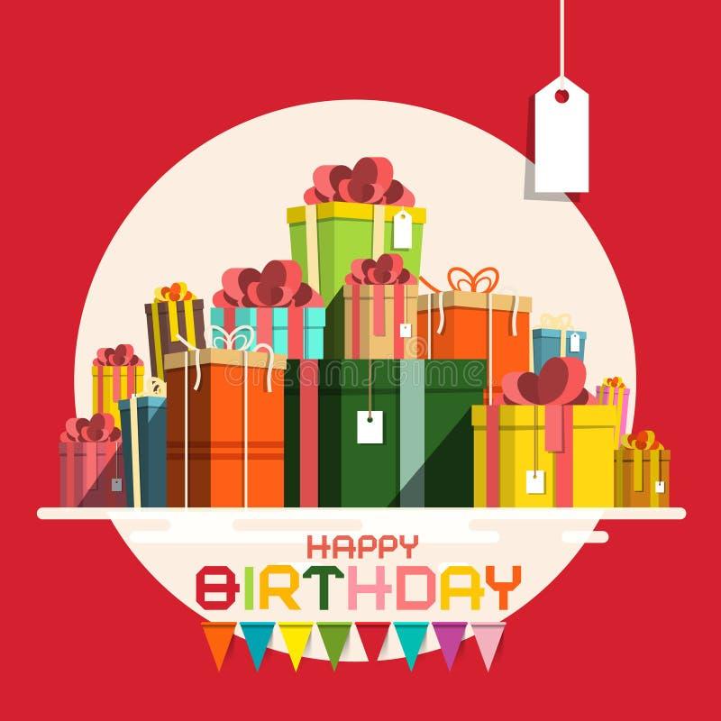Kortet för den lyckliga födelsedagen med pappers- gåvaaskar traver stock illustrationer