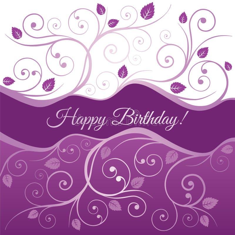 Kortet för den lyckliga födelsedagen med rosa färger och lilor virvlar runt royaltyfri illustrationer