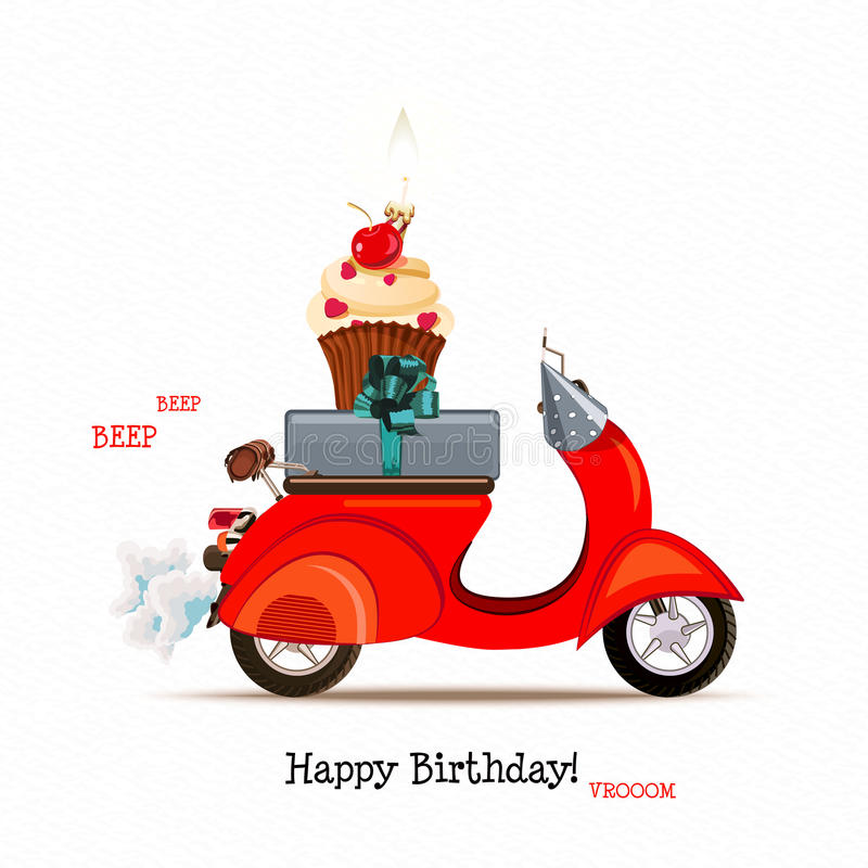 Kortet för den lyckliga födelsedagen med sparkcykeln och röda ballonger i tecknad film utformar också vektor för coreldrawillustr royaltyfri illustrationer