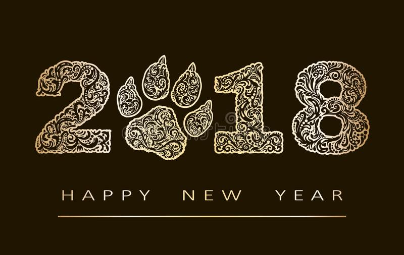 Kortet för det nya året med nummer 2018 år som mönstrades med guld- zen, trasslade former och lyckligt nytt år för text till 10 e royaltyfri illustrationer