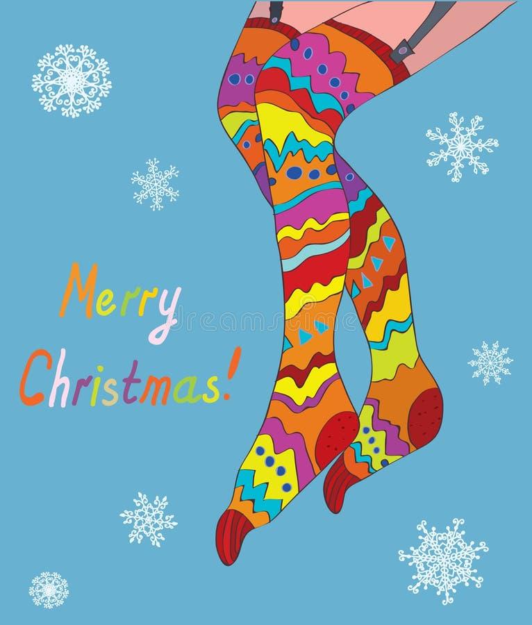 Kortet för glad jul med flickan lägger benen på ryggen i strumpor och snö vektor illustrationer