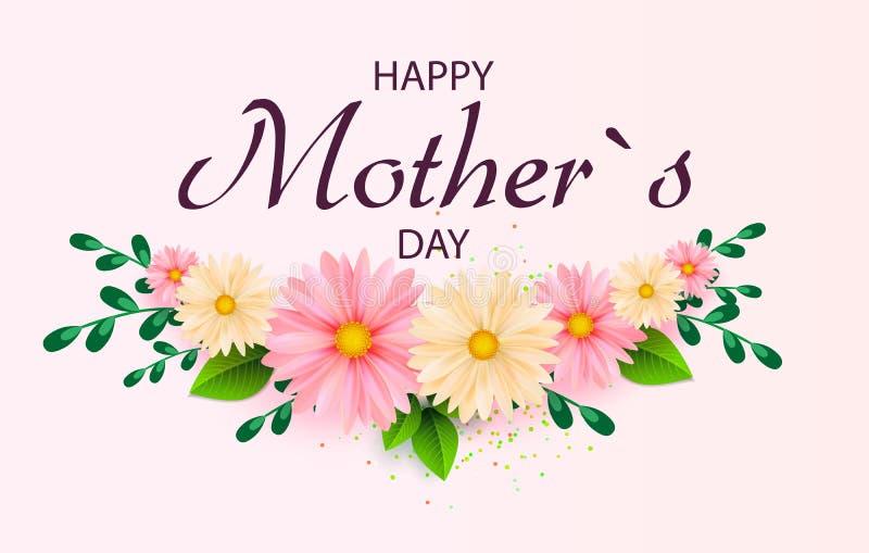 Kortet för hälsningen för dagen för moder` s med den härliga blomningen blommar royaltyfri illustrationer