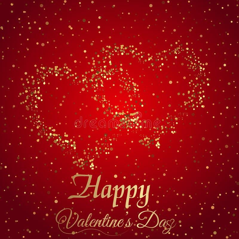 Kortet för hälsningen för dagen för valentin` s med mousserar guld- hjärta på röd bakgrund vektor royaltyfri illustrationer